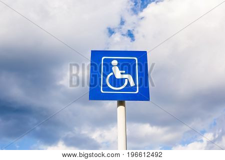 Parking sign for disabled people in the city