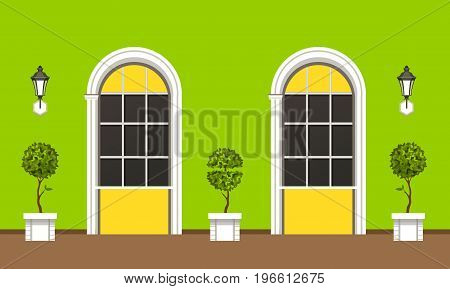 Vector illustration of the facade of the building front door of the gardening