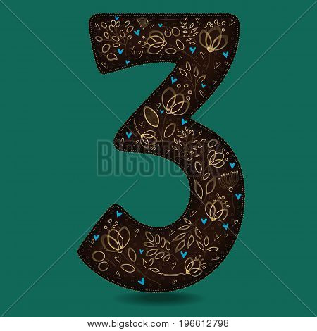 Number Three with Vintage Yellow Floral Decor. Dark brown numeral. Golden flowers and plants with drown effect. Blue small hearts.