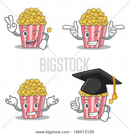 Set of Popcorn character with two finger wink graduation vector illustration
