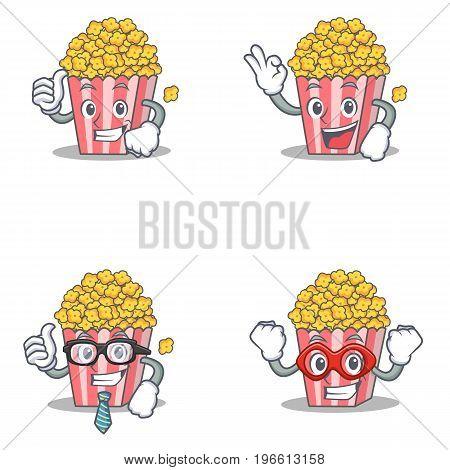 Set of Popcorn character with proud okay businessman hero vector illustration