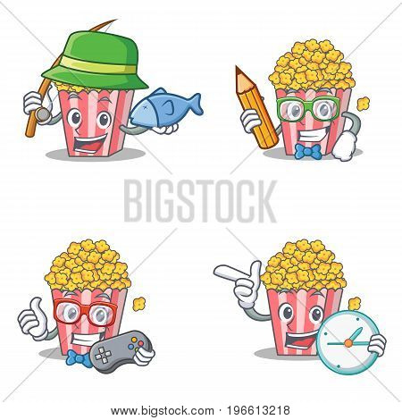 Set of Popcorn character with fishing student gamer clock vector illustration
