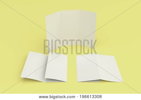 Blank White Three Fold Brochure Mockup On Yellow Background