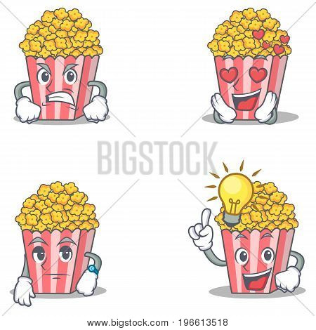 Set of Popcorn character with angry love waiting idea vector illustration