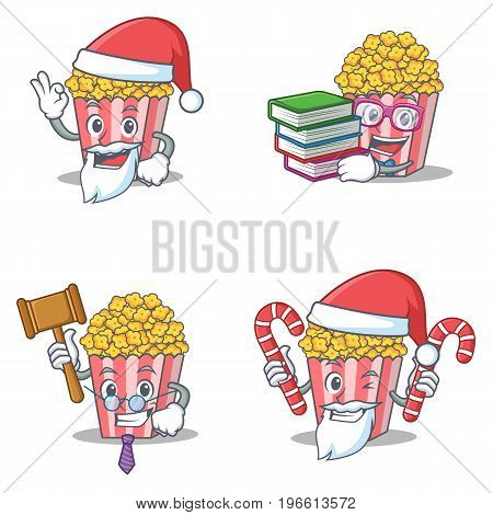 Set of Popcorn character with Santa boook judge candy vector illustration