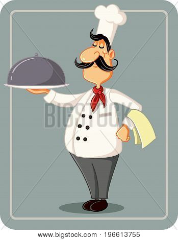 Cartoon Chef Holding a Silver Platter Vector Illustration - Vector  illustration a male cook serving his special house recipe dish