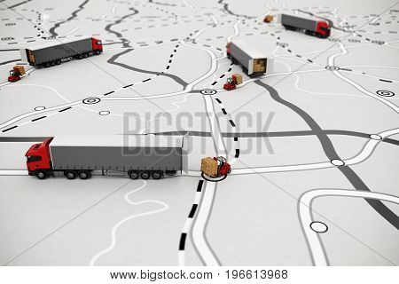 Loading pallets of boxes on truck on a road map. Concept of global shipment and GPS tracking. 3D rendering