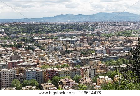 Rome, Italy - April  19, 2017: Panoramic view over the historic center from Mount Monte Mario