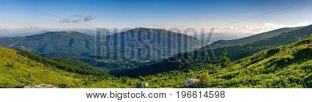 Panorama Of Mountain Ridge In Summer