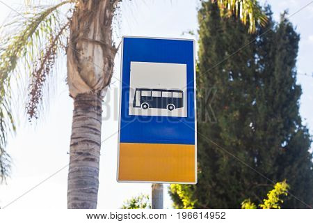 Bus Stop Sign on post pole, traffic road roadsign