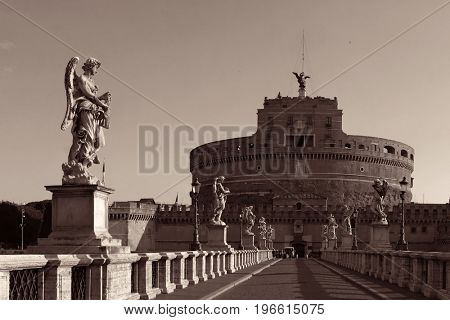 Castel Sant Angelo as the famous travel destination in Rome Italy