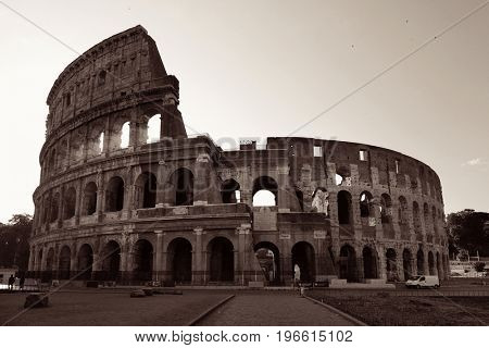 Colosseum is the symbolic architecture of Rome and Italy in monochrome