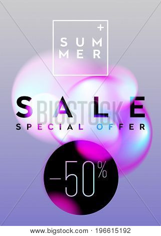 Summer Sale Vertical Banner Design. Abstract Gradient Blurs with Soft Pastel Colors. Trendy Vibrant Fluid Bubbles. Vector Advertising Template for Cloth Shop Online Store Web Banner PosterFlyer.