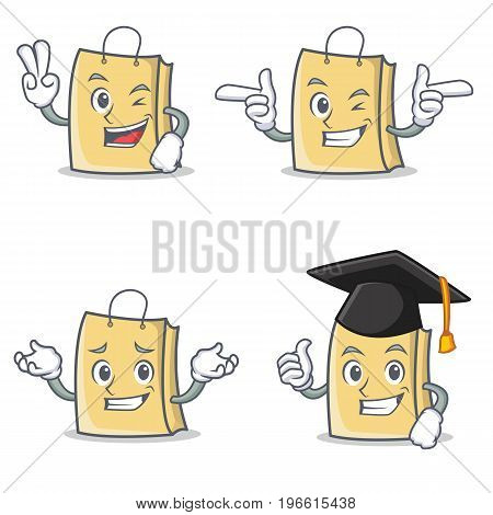 Set of bag character with two finger wink graduation vector illustration