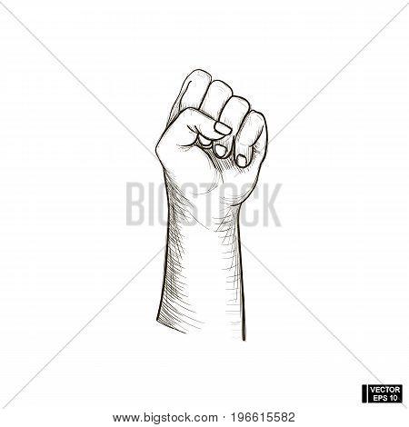 Sketch Arm Fist Raised Up.