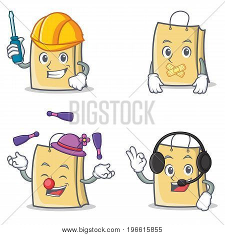 Set of bag character with automotive silent juggling headphone vector illustration