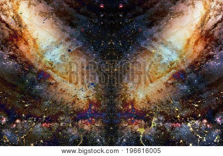 Cosmic galaxy and stars collage, color cosmic abstract background