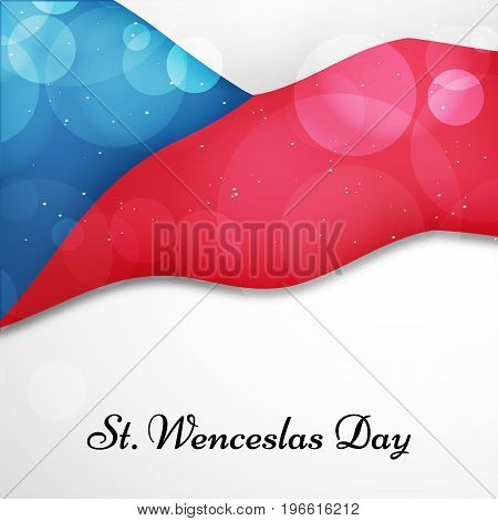 illustration of Czech Republic flag background with St. Wenceslas Day text on the occasion of St. Wenceslas Day. St. Wenceslas Day is the feast day of St. Wenceslas, the patron saint of Bohemia, and commemorates his death in 935. Celebrated as national da
