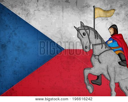 illustration of Saint Wenceslas on horse on map in Czech Republic flag background on the occasion of St. Wenceslas Day. St. Wenceslas Day is the feast day of St. Wenceslas, the patron saint of Bohemia, and commemorates his death in 935. Celebrated as nati