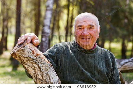 Portrait photo of happy elderly man in the nature