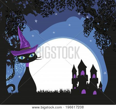 Halloween witch cat at night landscape , vector illustration