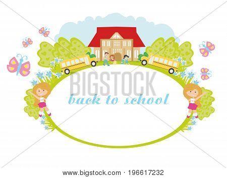 back to school frame , vector illustration