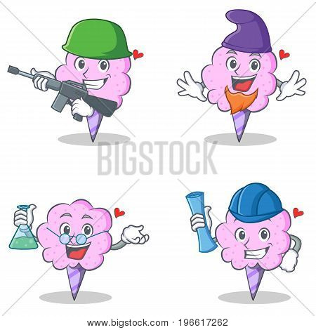 Cotton candy character set with army elf professor architect vector illustration