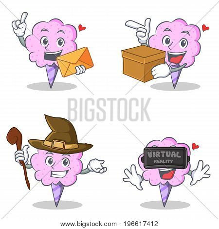 Cotton candy character set with envelope box witch virtual vector illustration