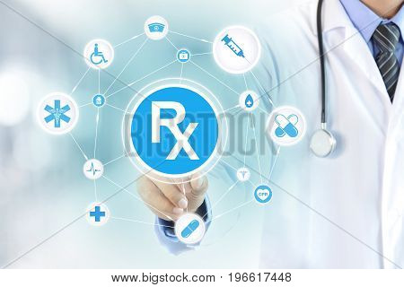 Doctor hand touching Rx sign on virtual screen