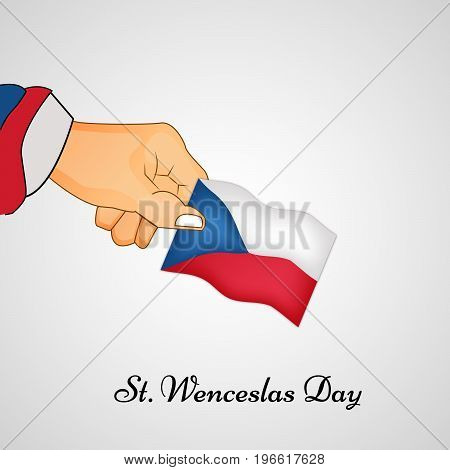 illustration of hand holding Czech Republic flag background with St. Wenceslas Day text on the occasion of St. Wenceslas Day. St. Wenceslas Day is the feast day of St. Wenceslas, the patron saint of Bohemia, and commemorates his death in 935. Celebrated a