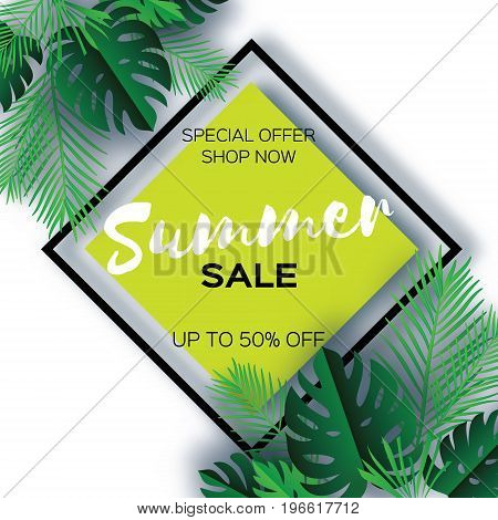 Trendy Summer Sale Template banner. Paper cut art Tropical palm leaves, plants. Exotic. Hawaiian. Space for text. Rhombus frame. Green jungle floral background. Monstera, palm. Vector illustration