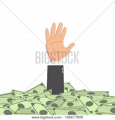 Hand of businessman raising from money pile isolated on white background