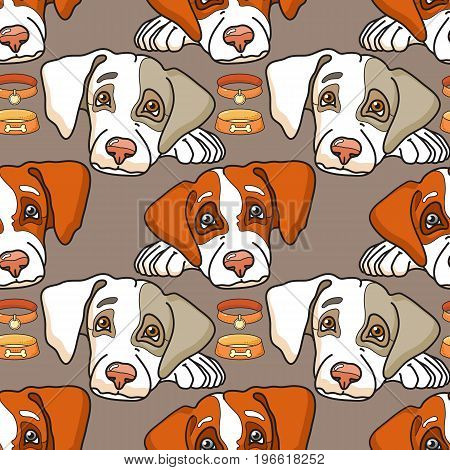 Vector cartoon dog on grey. Seamless pattern can be used for wallpaper, pattern fills, web page background, surface textures.
