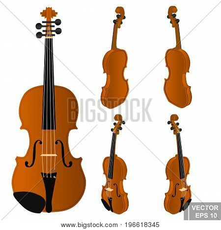Set Of Violins. Musical Instrument. Realistic. Isolated On White Background.
