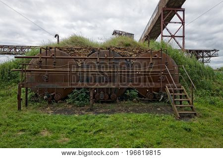 PEENEMUENDE GERMANY - JULY 18 2017: Rusted cisterns. Territory Army Research Center. During the World War II the area was highly involved in the development and production of the V-2 rocket.