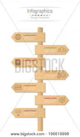 Infographic design elements for your business data with 7 options parts steps timelines or processes. Wood sign concept Vector Illustration.