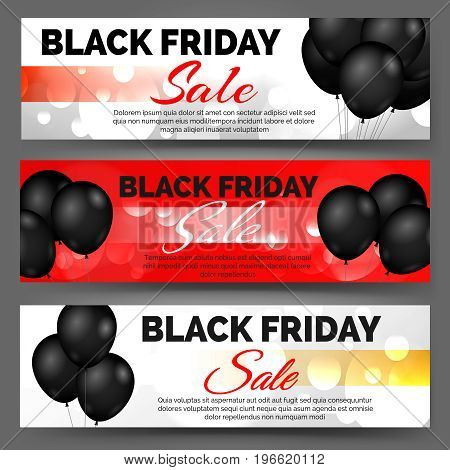Vector black friday horizontal banners with black balloons and bokeh lights for bargain sale