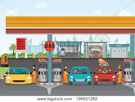 Gasoline and oil station or gas filling station Energy conceptual Vector flat illustration.