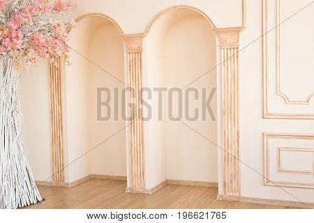 Luxury light interior of sitting room with decorative columns.
