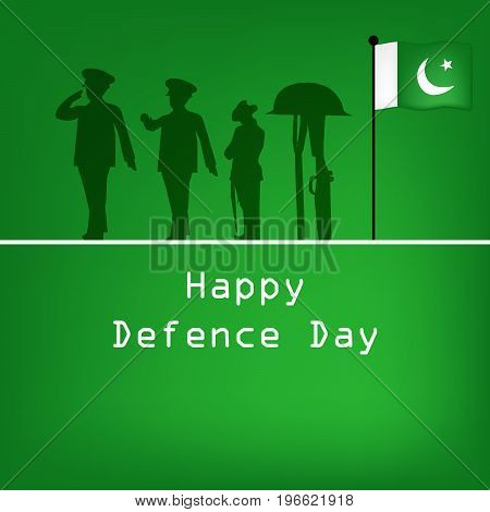illustration of Soldiers, rifle in hat with Happy defence Day text on the occasion of Pakistan defence day