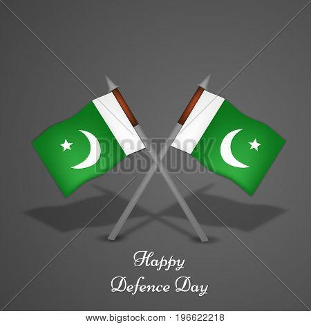 illustration of Pakistan flags with Happy defence Day text on the occasion of Pakistan defence day