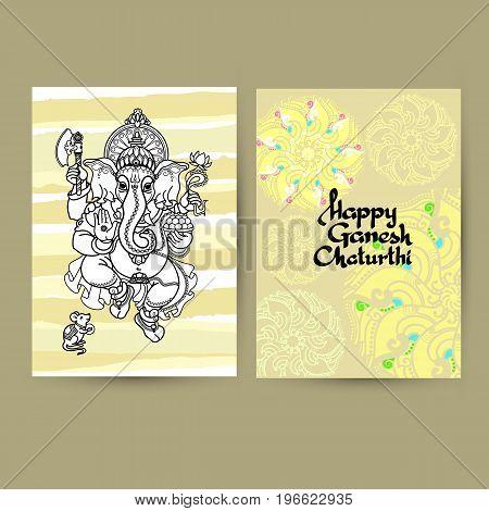 Hindu God Ganesha greeting Cards. Handwritten words Happy Ganesh Chaturthi. Hand drawn Vector illustration.  Black line  on light background with mandala.