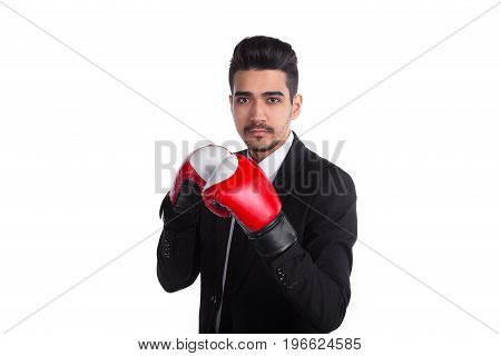 Young Man Boxer In Black Suit And Red Boxing Gloves