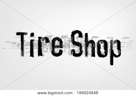 Grunge tire shop lettering. Unique off road isolated words in a black and grey colours. Vector illustration.