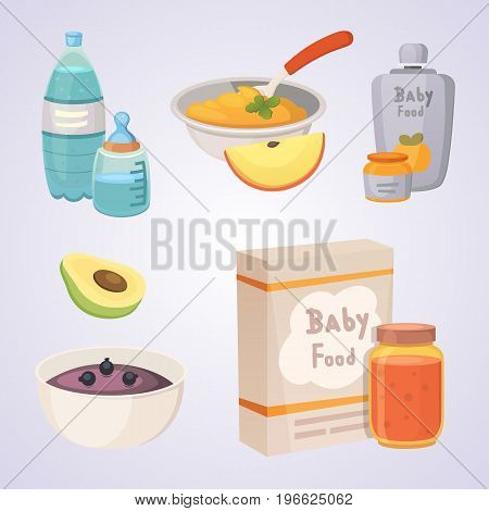 Juices and purees from green apples and broccoli for baby. food for baby cartoon products set