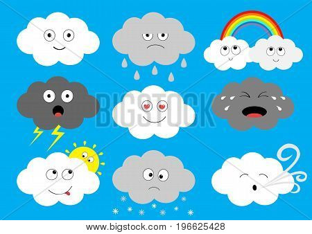 White dark cloud emoji icon set. Fluffy clouds. Sun rainbow rain drop wind thunderbolt storm lightning. Cute cartoon cloudscape. Different emotion Flat design Blues sky background Isolated Vector