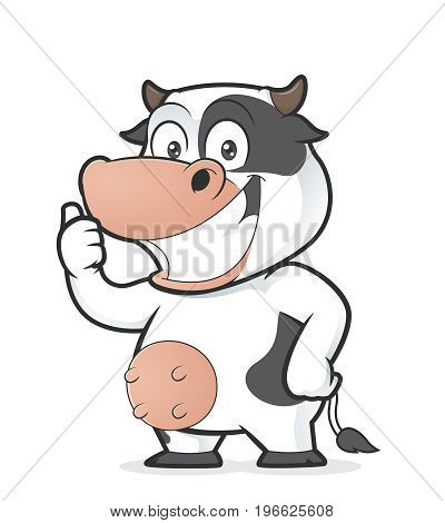 Clipart picture of a cow cartoon character giving thumbs up
