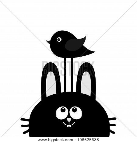 Black rabbit bunny face head silhouette looking up to bird. Cute cartoon funny character. Kawaii animal. Baby card. Sticker print template. Flat design. White background. Isolated. Vector illustration