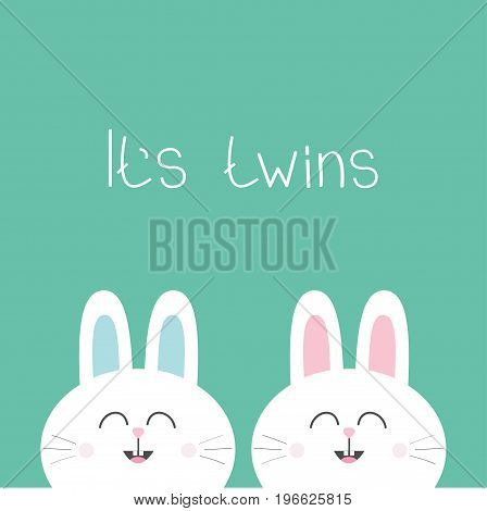 Its twins Two cute twin bunny rabbit. Hare head couple family icon. Cute cartoon funny smiling character set. Green background. Isolated. Flat design Vector illustration