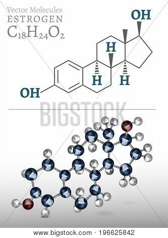 Estrogen molecule structure in 3D style. Beautiful medical vector illustration an metallic blue and silver colours. C18H24O2 image isolated on a light grey background.